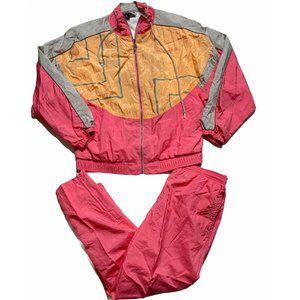 Vintage Womens Windbreaker Track Suit Pink Nylon